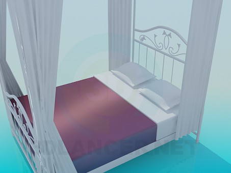 3d model Bed with curtains - preview
