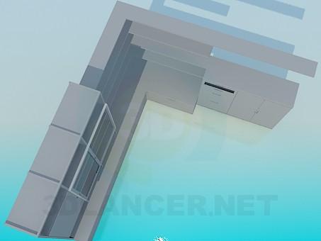 modelo 3D Marco de gabinete de esquina - escuchar