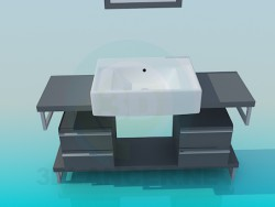 Wash basin pedestal with drawers