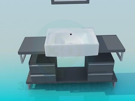 descarga gratuita de 3D modelado modelo mesada con bacha elevada y cajones