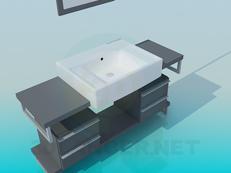 3d model Wash basin pedestal with drawers - preview