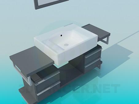 3d модель Умивальник на підставці з ящиками – превью