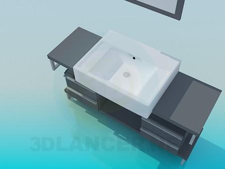 modelo 3D Lavado lavabo pedestal con cajones de - escuchar