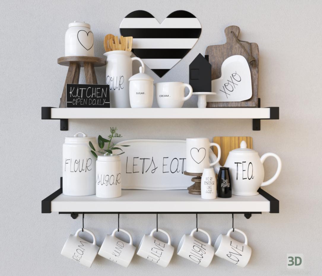 "3d Decorative set ""Kitchen is open daily"" model buy - render"