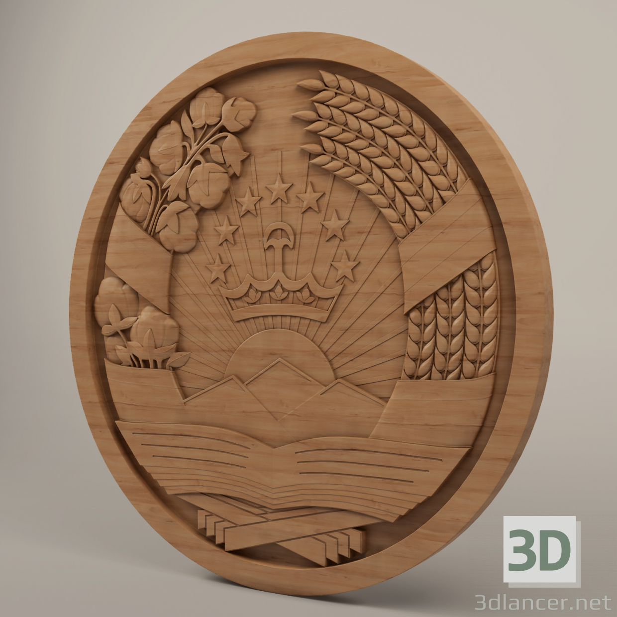 3d Coat of arms of the Republic of Tajikistan model buy - render