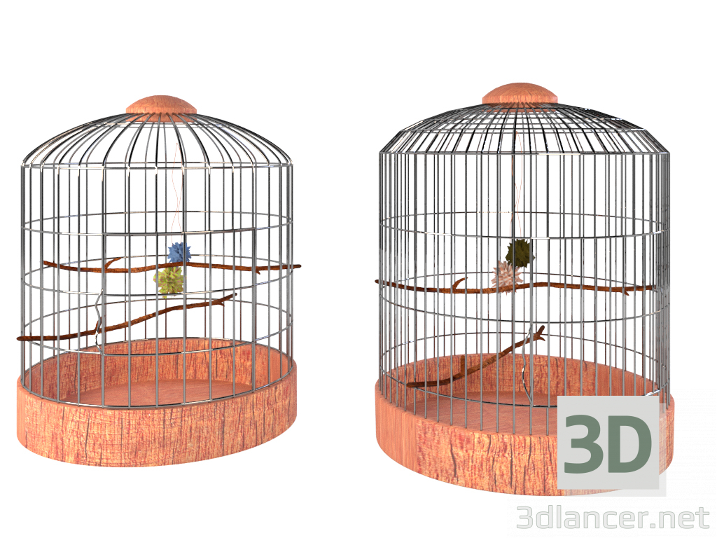3d model Two bird cages - preview