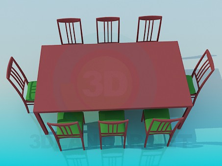 3d modeling Table for 8 persons model free download