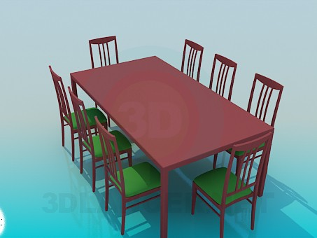 3d model Table for 8 persons - preview