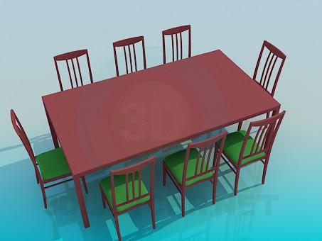 modelo 3D Mesa para 8 personas - escuchar