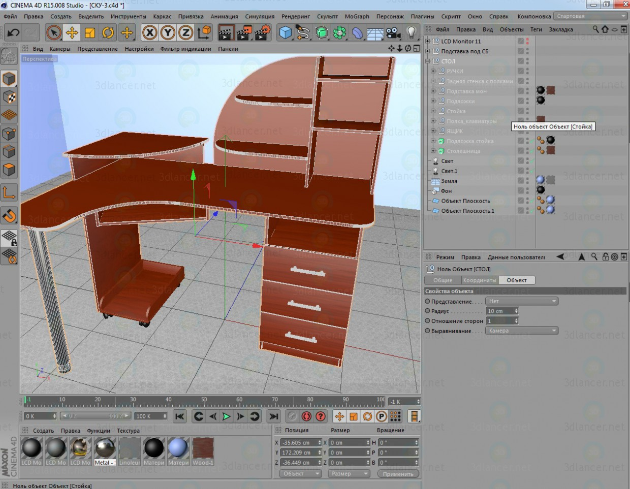 3d model Computer table SKU-3 - preview