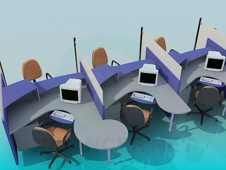 3d модель Столи по роботі з клієнтами для офісу – превью