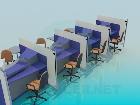 3d model Customer service desks for office - preview