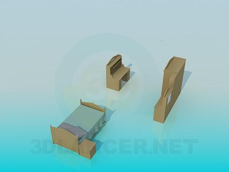 modelo 3D Un conjunto de mobiliario en el estudiante de cuarto - escuchar