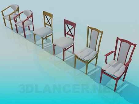 3d model Various chairs - preview