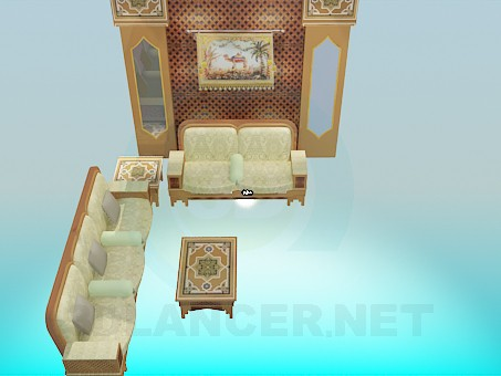 3d model A set of furniture in the living room - preview