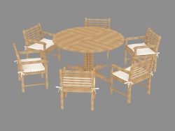 Set of garden furniture with white pillows