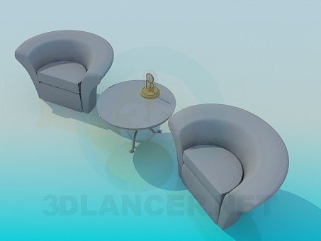 3d modeling Table and chairs model free download