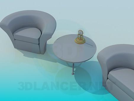 3d модель Стол и кресла – превью