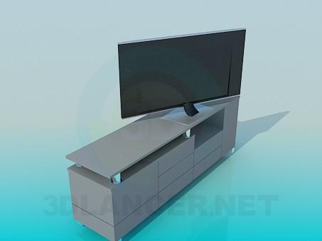 modelo 3D Mesita de noche en la TV - escuchar