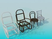 Armchair-rocking chair and chairs