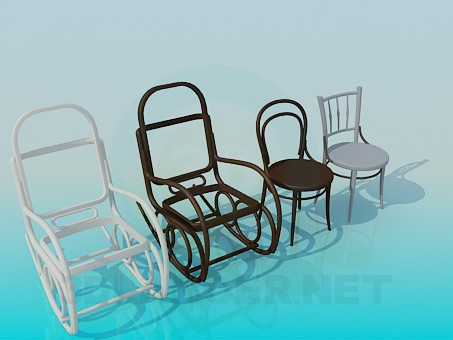 3d modeling Armchair-rocking chair and chairs model free download