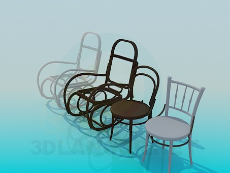 3d model Armchair-rocking chair and chairs - preview