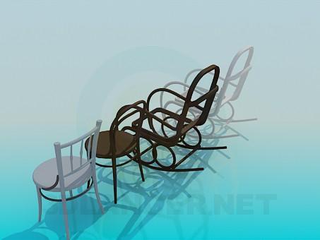 3d модель Кресло-качалка и стулья – превью