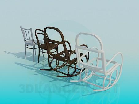 modelo 3D Sillón-mecedora silla y sillas - escuchar