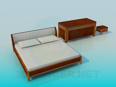 3d modeling Furniture in the bedroom model free download