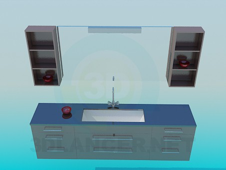 modelo 3D Lavabo completo - escuchar