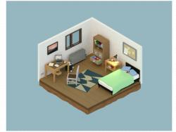 Sala Isométrica 3D