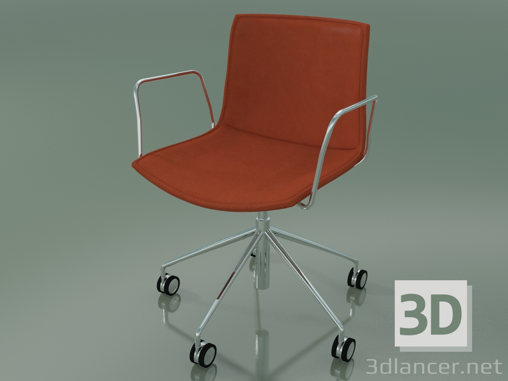 3d model Chair 0318 (5 wheels, with armrests, with removable leather trim, cover 3) - preview