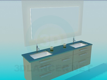 3d model Set of two basins - preview