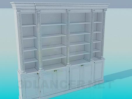 3d модель Шкаф с полками в библиотеку – превью