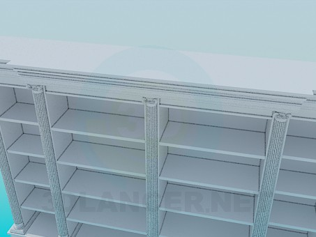 3d model Cupboard with shelves in the library - preview