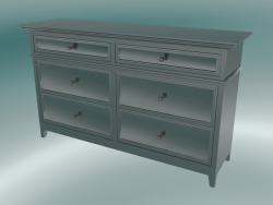 Chest of drawers wide with 6 drawers (Black-Brown)