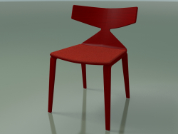 Chair 3714 (4 wooden legs, with a pillow on the seat, Red)