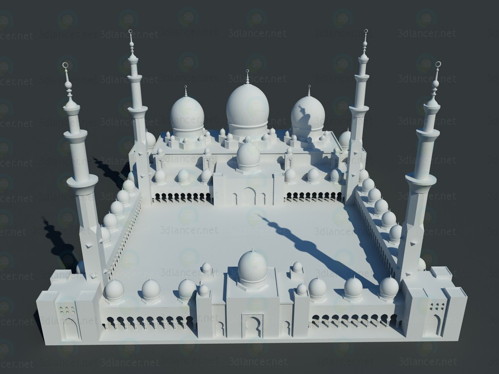 3d modeling Sheikh Zayed Mosque model free download