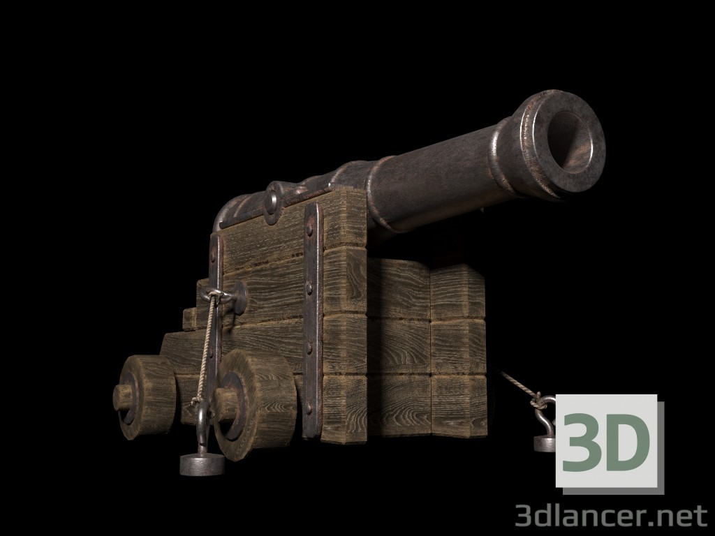 The old naval gun paid 3d model by masterV preview