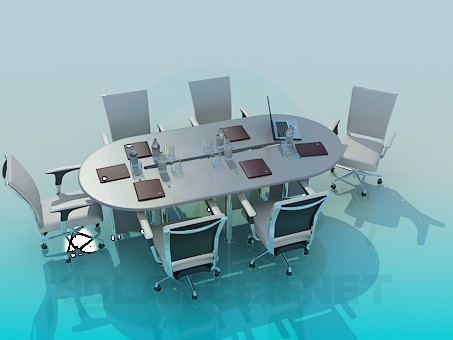 3d model The table in the conference room - preview