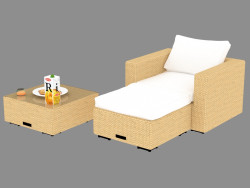 A set of furniture (armchair, pouf, table) Tuscany