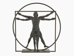 Scultura di bronzo L'uomo vitruviano Leonardo Da Vinci