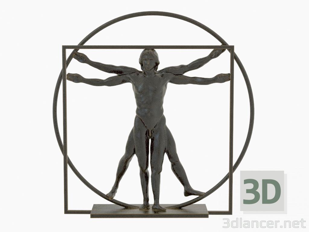 3d model Sculpture of bronze The vitruvian man Leonardo Da Vinci