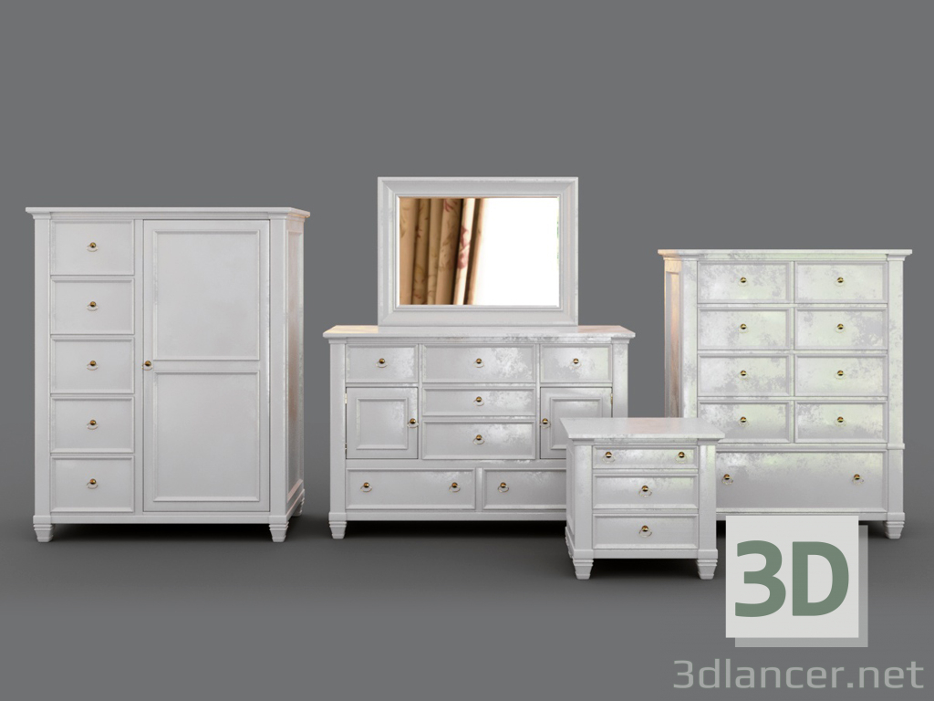 3d Dressers and cabinet Prentice model buy - render