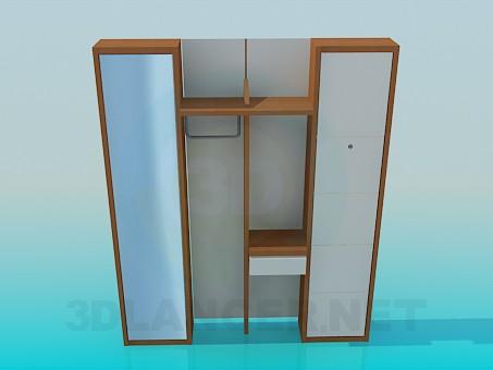 3d моделирование Деревянный шкаф в коридор модель скачать бесплатно