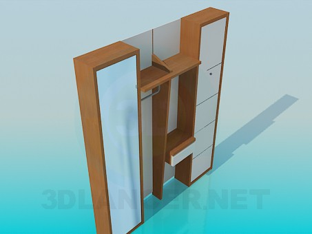 3d model Wooden wardrobe in the hallway - preview