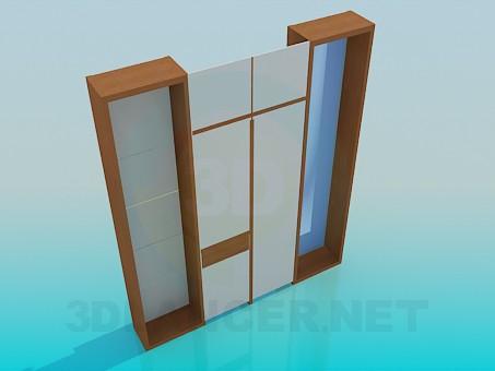 3d модель Деревянный шкаф в коридор – превью