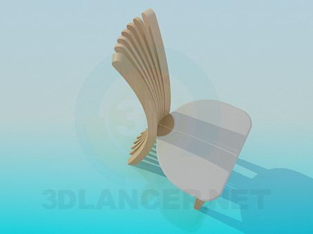 3d model Chair with a narrow backrest - preview