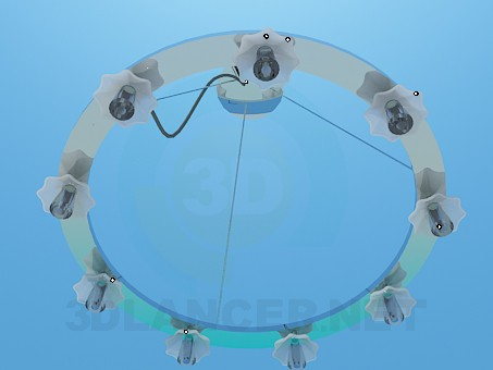 3d model Circular chandelier with flowers - preview