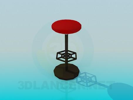 3d модель Высокий табурет с подставкой для ног – превью